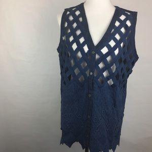 Florissant Navy Blue Cutout Vintage Vest